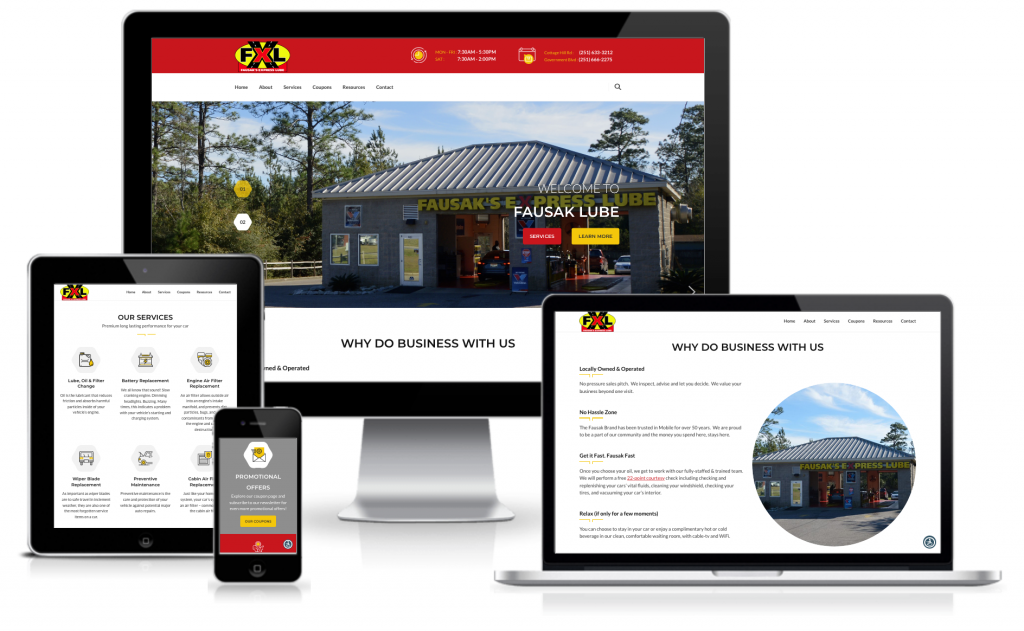 fausak oil change web design
